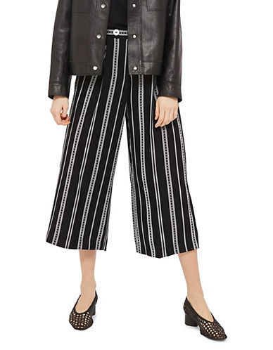 Topshop Cropped Striped Wide Leg Trousers-MONOCHROME-UK 8/US 4 90071400_MONOCHROME_UK 8/US 4
