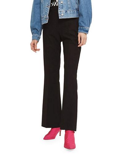 Topshop Slim Flare Trousers-BLACK-UK 6/US 2