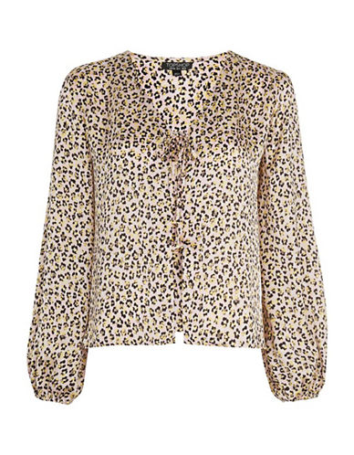 Topshop Animal-Print Blouson Top-BEIGE-UK 14/US 10