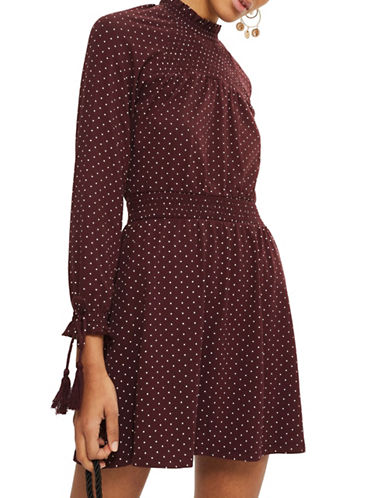 Topshop Spot Shirred Waist Mini Dress-BURGUNDY-UK 12/US 8