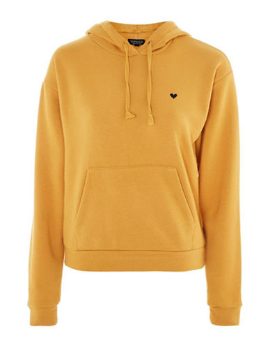 Topshop Embroidered Heart Hoodie-MUSTARD-UK 8/US 4