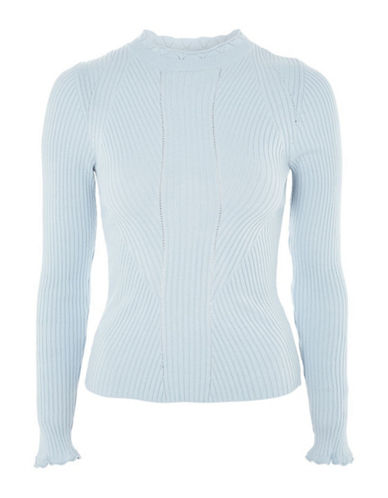 Topshop Frill Neck Sweater-LIGHT BLUE-UK 12/US 8