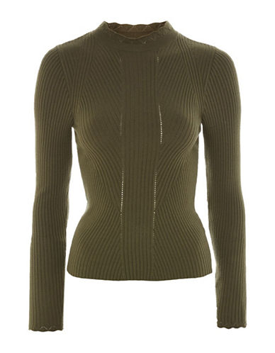 Topshop Frill Neck Sweater-KHAKI-UK 16/US 12