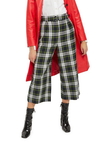 Topshop Tartan Cropped Wide Trousers-GREEN-UK 8/US 4