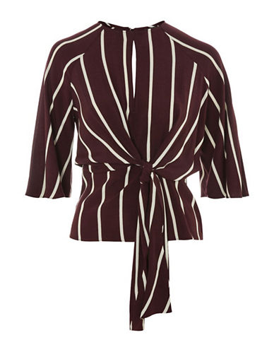 Topshop Slouchy Stripe Knot Front Top-BURGUNDY-UK 10/US 6