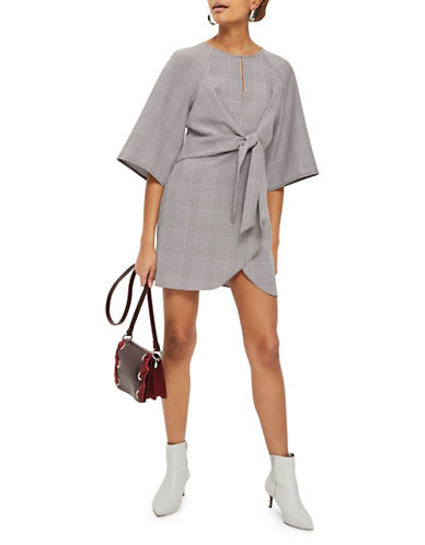 Topshop Pow Check Knot Mini Dress-GREY-UK 12/US 8