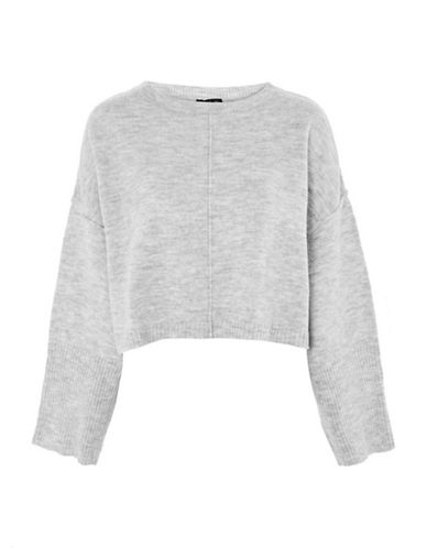 Topshop Wide-Sleeved Sweater-GREY MARL-UK 8/US 4
