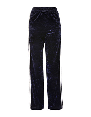 Topshop Velvet Striped Track Pants-NAVY BLUE-UK 12/US 8