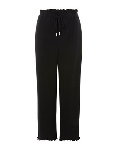 Topshop Lettuce Hem Plisse Trousers-BLACK-UK 6/US 2