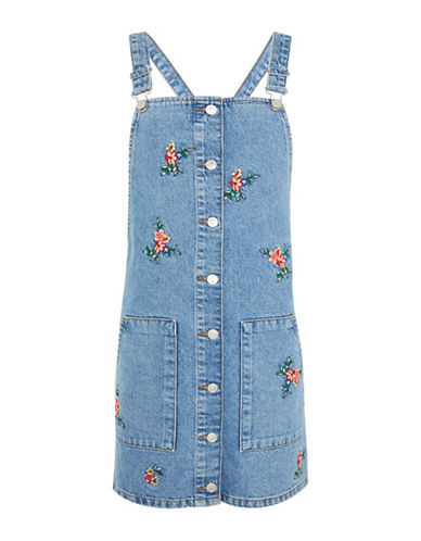 Topshop MOTO Embroidered Denim Pinafore Dress-MID DENIM-UK 8/US 4