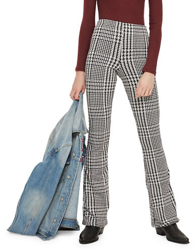 Topshop Checked Flared Trousers-MONOCHROME-UK 8/US 4