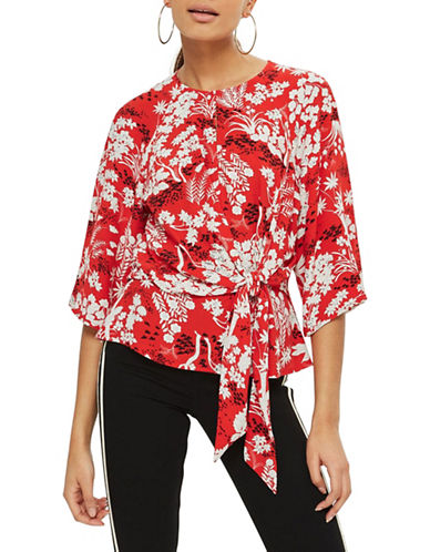 Topshop Fern-Printed Knot Front Blouse-RED-UK 10/US 6