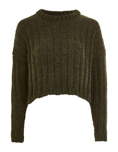 Topshop Chenille Crop Sweater-KHAKI-UK 10/US 6