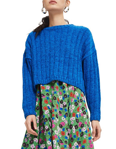 Topshop Chenille Crop Sweater-COBALT-UK 14/US 10