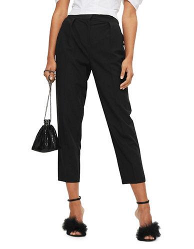 Topshop Pleated Peg Leg Trousers-BLACK-UK 14/US 10