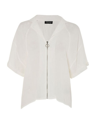 Topshop Zip-Front Short-Sleeve Shirt-WHITE-UK 6/US 2