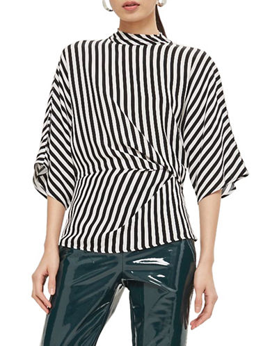 Topshop Striped Tuck Detail Top-MONOCHROME-UK 12/US 8