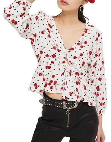 Topshop Spot and Cherry Print Blouse-IVORY-UK 14/US 10