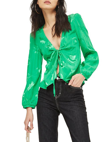 Topshop Jacquard Bed Jacket-GREEN-UK 8/US 4