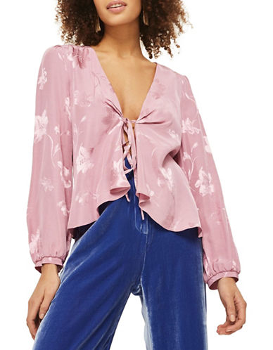 Topshop Jacquard Bed Jacket-DUSTY PINK-UK 10/US 6