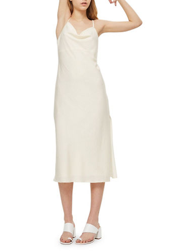 Topshop Satin Midi Dress-CREAM-UK 12/US 8
