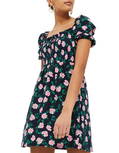 Topshop Floral Shirred Bardot Dress-MULTI-UK 12/US 8