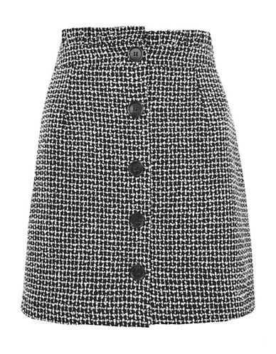 Topshop Boucle Frill Waist Skirt-MONOCHROME-UK 6/US 2