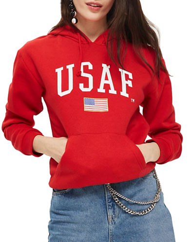 Topshop USAF Logo Hoodie by Tee and Cake-RED-UK 6/US 2