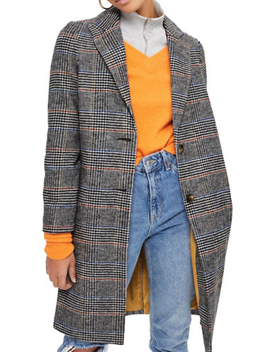 Topshop PETITE Checked Wool-Blend Coat-MULTI-UK 6/US 2