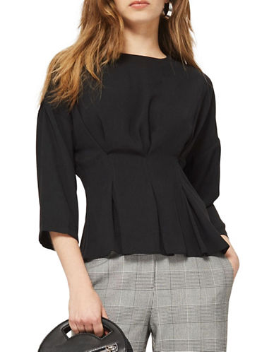 Topshop Tuck Waist Top-BLACK-UK 14/US 10