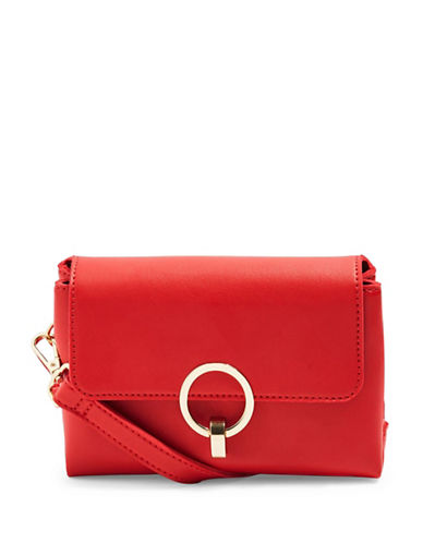 Topshop Oslo Clean Circle Lock Crossbody Bag-RED-One Size