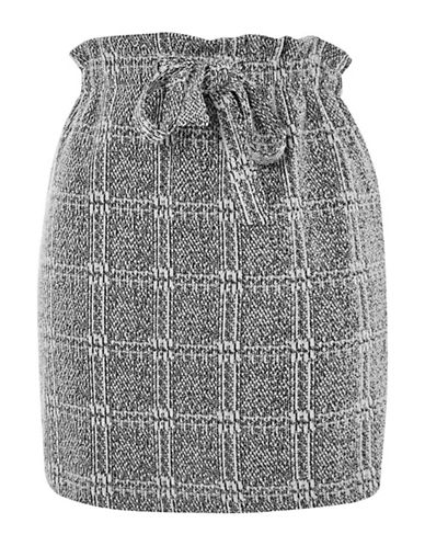 Topshop Textured Check Paperbag Mini Skirt-GREY-UK 10/US 6