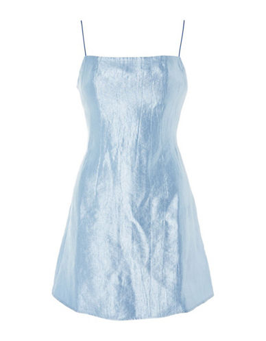 Topshop 90s Satin Mini Dress-LIGHT BLUE-UK 12/US 8