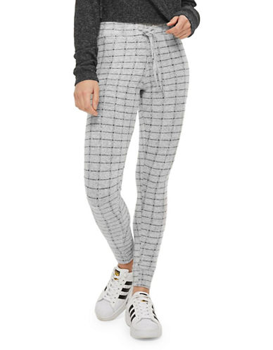 Topshop Grid Print Slim Joggers-LIGHT GREY-UK 6/US 2
