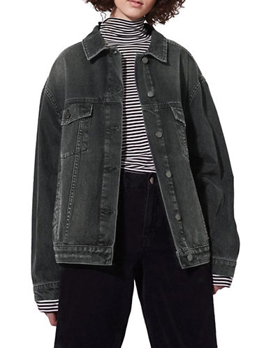 Topshop Distressed Jacket by Boutique-WASHED BLACK-UK 6/US 2