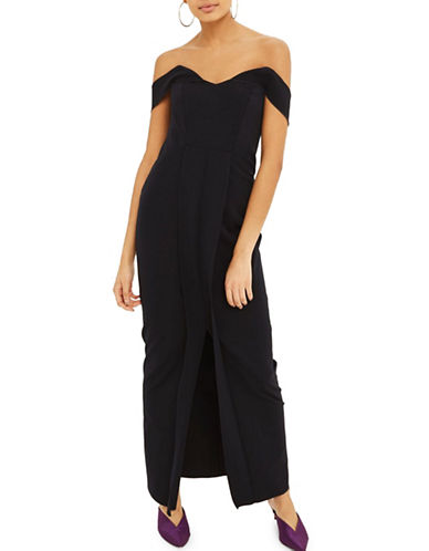 Topshop Crepe Bandeau Maxi Dress-NAVY-UK 12/US 8