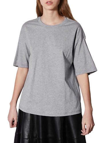 Topshop Boxy T-Shirt by Boutique-GREY MARL-UK 10/US 6
