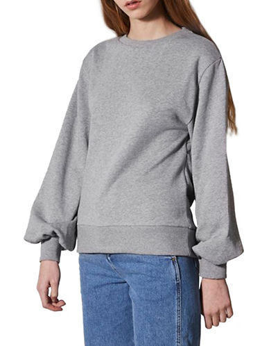 Topshop Dolman Sleeve Sweatshirt by Boutique-GREY MARL-UK 6/US 2