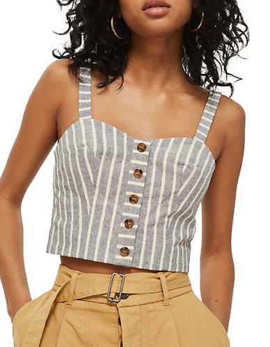Topshop Linen Stripe Bralet-BLUE-UK 8/US 4 90111154_BLUE_UK 8/US 4