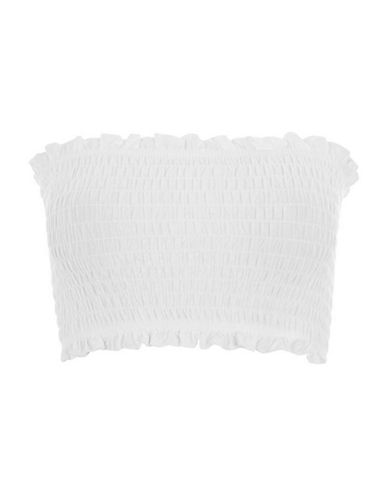 Topshop Shirred Bandeau Top-WHITE-UK 8/US 4 90105490_WHITE_UK 8/US 4