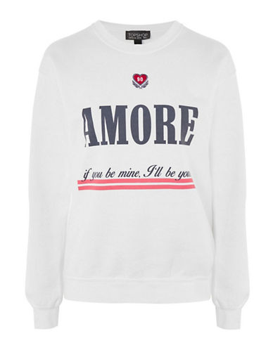 Topshop Embroidered Amore Slogan Sweatshirt-WHITE-Medium