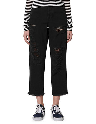 Topshop Distressed Jeans by Boutique-WASHED BLACK-UK 8/US 4