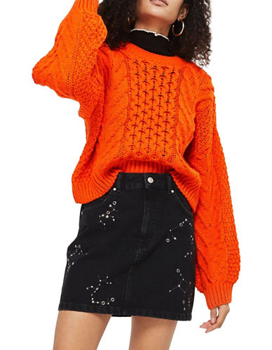 Topshop Blouson Cropped Cable Sweater-ORANGE-UK 10/US 6