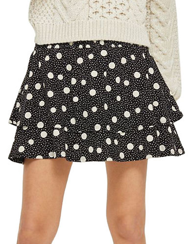 Topshop Shirred Tiered Spotted Skirt-BLACK-UK 10/US 6