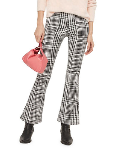 Topshop PETITE Check Flared Trousers-MONOCHROME-UK 10/US 6