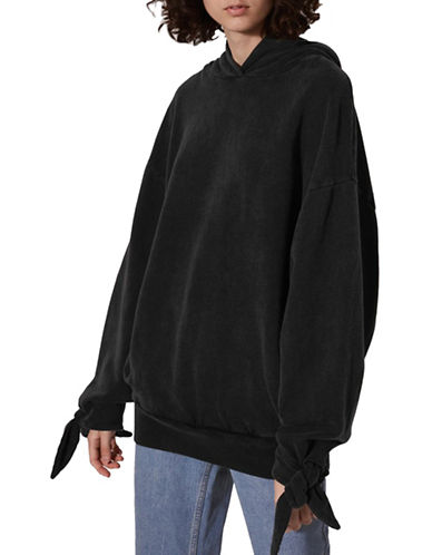 Topshop Tie Sleeve Hoodie by Boutique-WASHED BLACK-UK 14/US 10