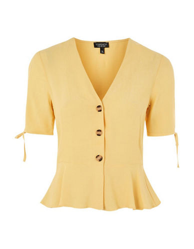 Topshop Bryony Tea Blouse-YELLOW-UK 10/US 6