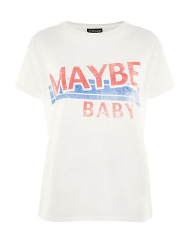 Topshop Maybe Baby Motif Tee-WHITE-UK 14/US 10