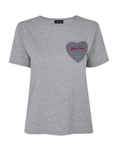 Topshop Best Friends Tee-GREY MARL-UK 12/US 8