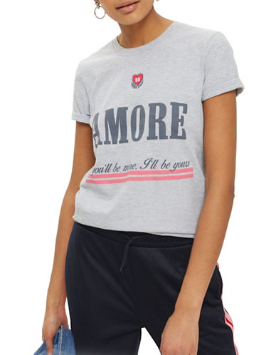 Topshop Embroidered Amour T-Shirt-GREY MARL-Medium